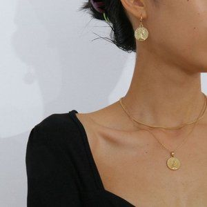 Minimalist Gold Coin Chain Necklace & Earring Set